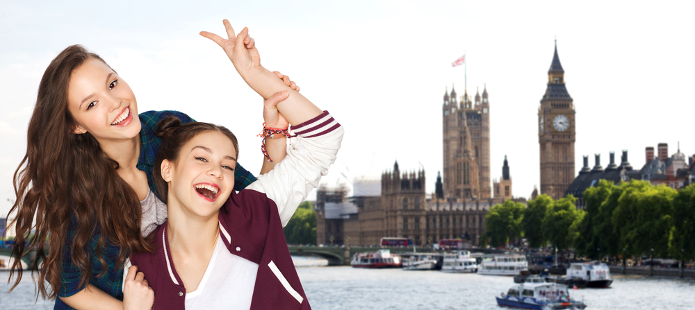 TEENAGERS HAPPY IN LONDON